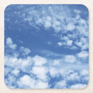 Cloudy Sky Square Paper Coaster
