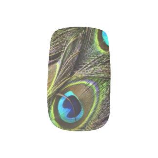 Clous réalistes de plume de paon stickers d'ongles
