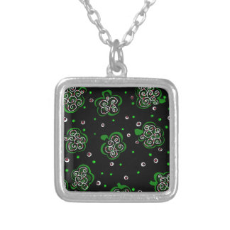Clover Black Silver Plated Necklace