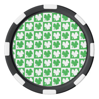Clover Checkerboard Pattern Poker Chip Set