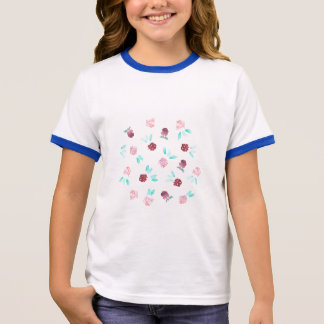 Clover Flowers Girls' Ringer T-Shirt