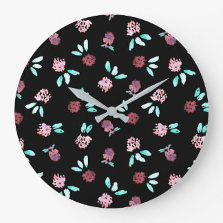 Clover Flowers Large Round Wall Clock