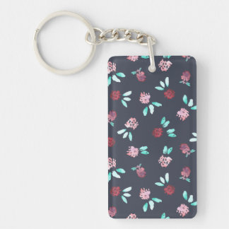 Clover Flowers Rectangle Double-Sided Keychain