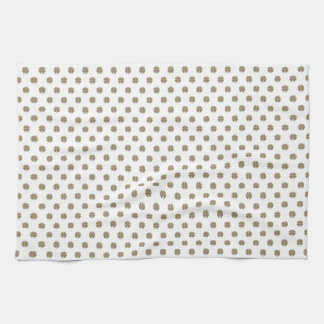 Clover Good Luck Symbol Gold Look Elegant Pattern Kitchen Towel