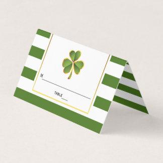 Clover, green stripes Irish wedding folded escort Place Card