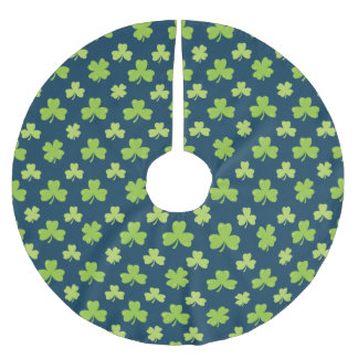 Clover Leaf Illustration Brushed Polyester Tree Skirt