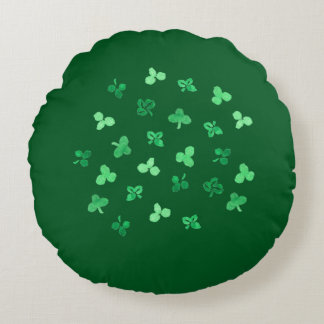 Clover Leaves Brushed Polyester Round Throw Pillow