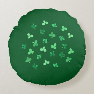Clover Leaves Cotton Round Throw Pillow