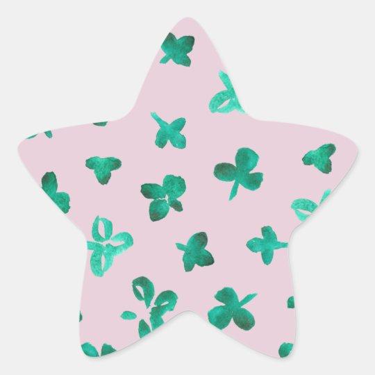Clover Leaves Glossy Star Sticker