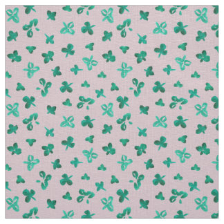 Clover Leaves Ivory Linen Fabric