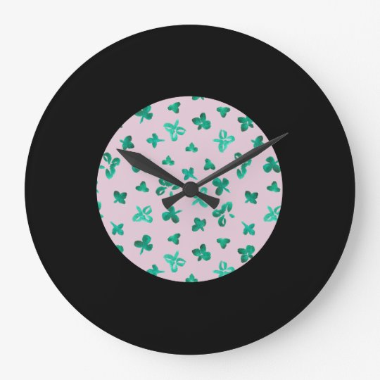 Clover Leaves Large Round Wall Clock