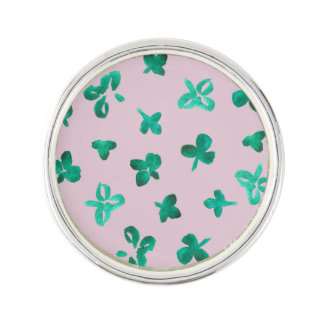 Clover Leaves Round Lapel Pin