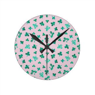 Clover Leaves Round Medium Wall Clock