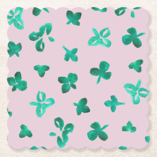 Clover Leaves Scalloped Square Paper Coaster