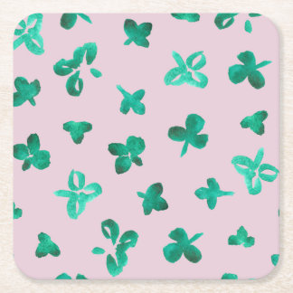 Clover Leaves Square Paper Coaster