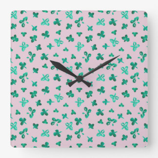 Clover Leaves Square Wall Clock