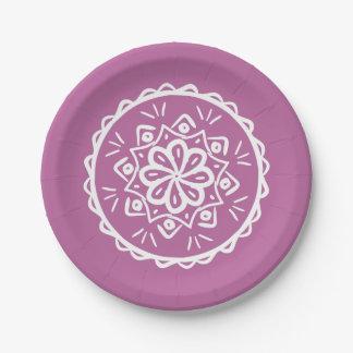 Clover Mandala 7 Inch Paper Plate