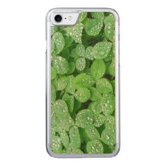 Clover Meadow Leaves Spring Rain Dew Green Leaf Carved iPhone 7 Case