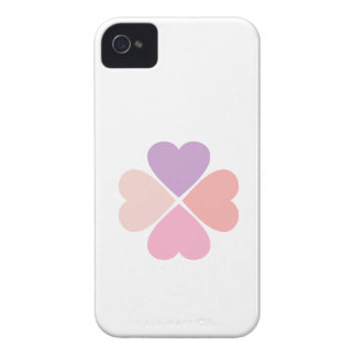 Clover of love of hearts by day of San Valentin iPhone 4 Case-Mate Case