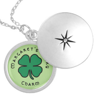 Clover Shamrock Lucky Charm Name Necklace