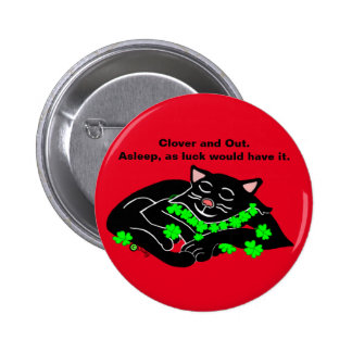 Clover The Lucky Black Cat Nap 2 Inch Round Button