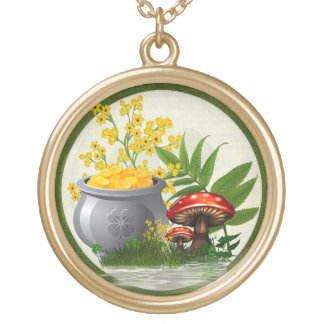 Clover Trail Whimsical Folk Art Gold Plated Necklace
