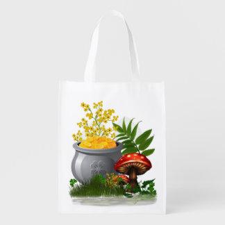 Clover Trail Whimsical Folk Art Reusable Grocery Bag