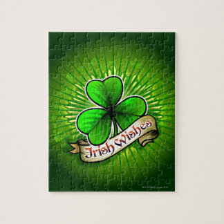 Clover with 'Irish Wishes' banner Jigsaw Puzzle