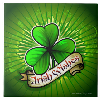 Clover with 'Irish Wishes' banner Tile