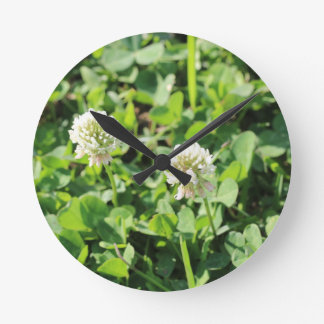 Clovers and Flowers Round Clock
