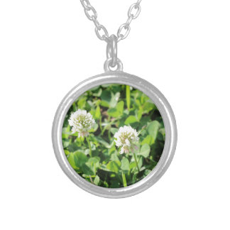Clovers and Flowers Silver Plated Necklace