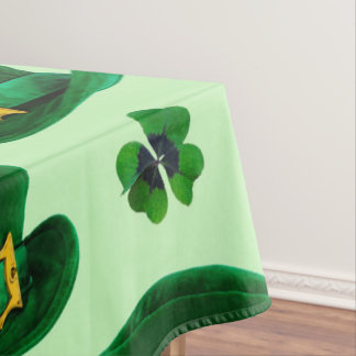 Clovers and Leprechaun Hats Tablecloth