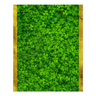 Clovers with Water Droplets with FAUX Gold Foil Poster