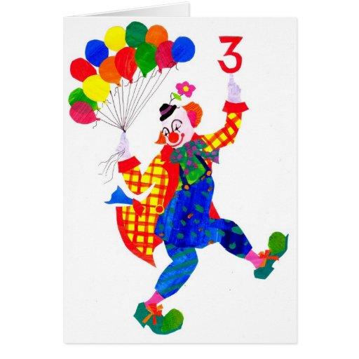 Clown 3-year old birthday card