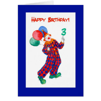 Clown 3rd Birthday Card