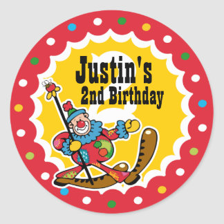 Clown Around 2nd Birthday Custom Sticker