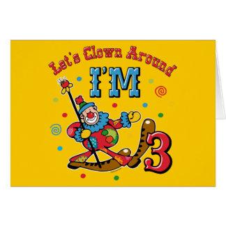 Clown Around 3rd Birthday Card