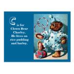 Clown Bear Charley - Letter C - Vintage Teddy Bear Postcard