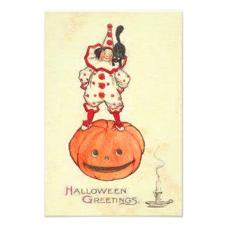 Clown Black Cat Jack O Lantern Pumpkin Photo Print