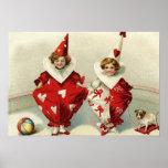 Clown Children Dog Ball Heart Poster