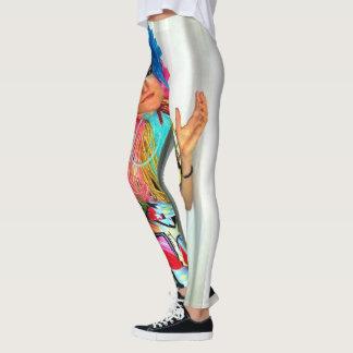 clown circus rainbow jester leggings