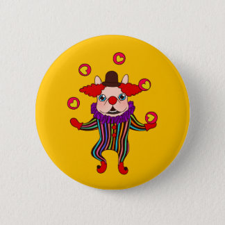 Clown Dog Frenchie entertains you with his love 2 Inch Round Button