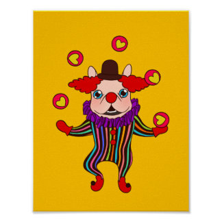 Clown Dog Frenchie entertains you with his love Poster
