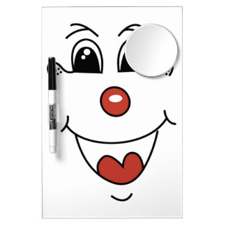 CLOWN FACE DRY ERASE BOARD WITH MIRROR