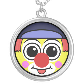 Clown Face Silver Plated Necklace