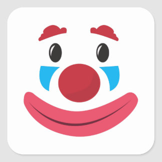 Clown Face Square Sticker