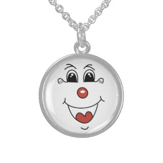 CLOWN FACE STERLING SILVER NECKLACE