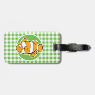 Clown Fish; Green Gingham Luggage Tag