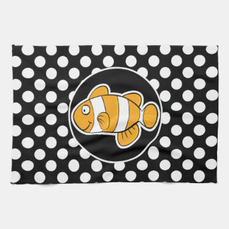Clown fish on Black and White Polka Dots Kitchen Towel
