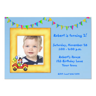 Clown Frame Birthday Photo Invitation